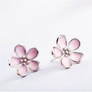 Women-Jewelry-Elegant-Gift-Stud-Earrings-Earrings-Cherry-Blossom-Flower