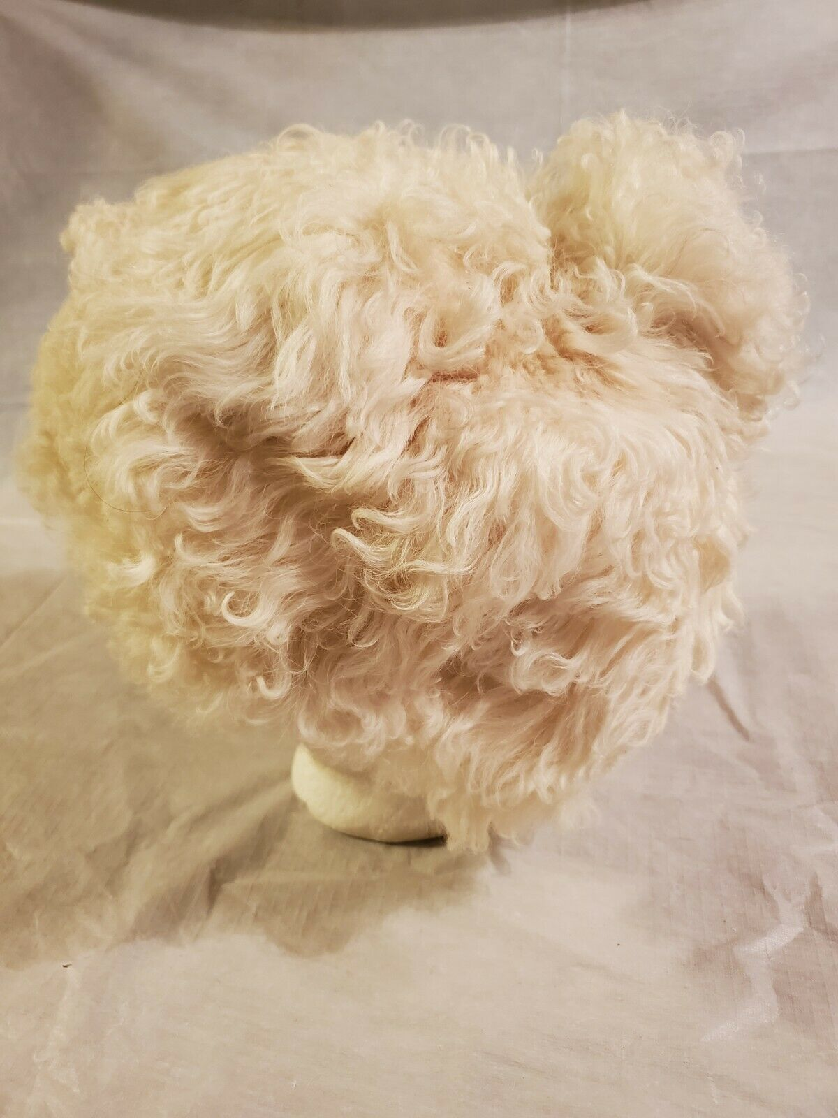 HALSTON HAT Shearling Mongolian Lamb With pompom … - image 3