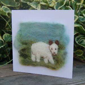 Hecho a mano fieltro de aguja en blanco tarjeta de saludos o para enmarcar Cheviot ovejas