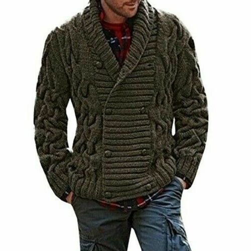Autumn Winter Mens Knitted Sweater Thick Double Breasted Cable Knitwear Cardigan