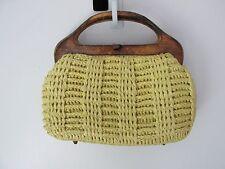 RAFFIA Straw Handbag Wood Handles Japan Yellow VINTAGE EUC!
