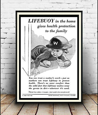 Vintage Soap advert  poster reproduction. Lifebuoy in the home