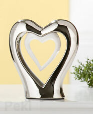 Gilde Skulptur Keramik modern Doppelherz stehend Liebe silber weiss 18 cm 34095