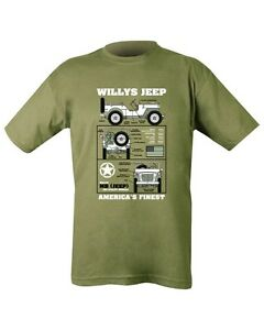 Imprime-militaire-jeep-willy-039-s-T-Shirt-Vert-Olive-SAS