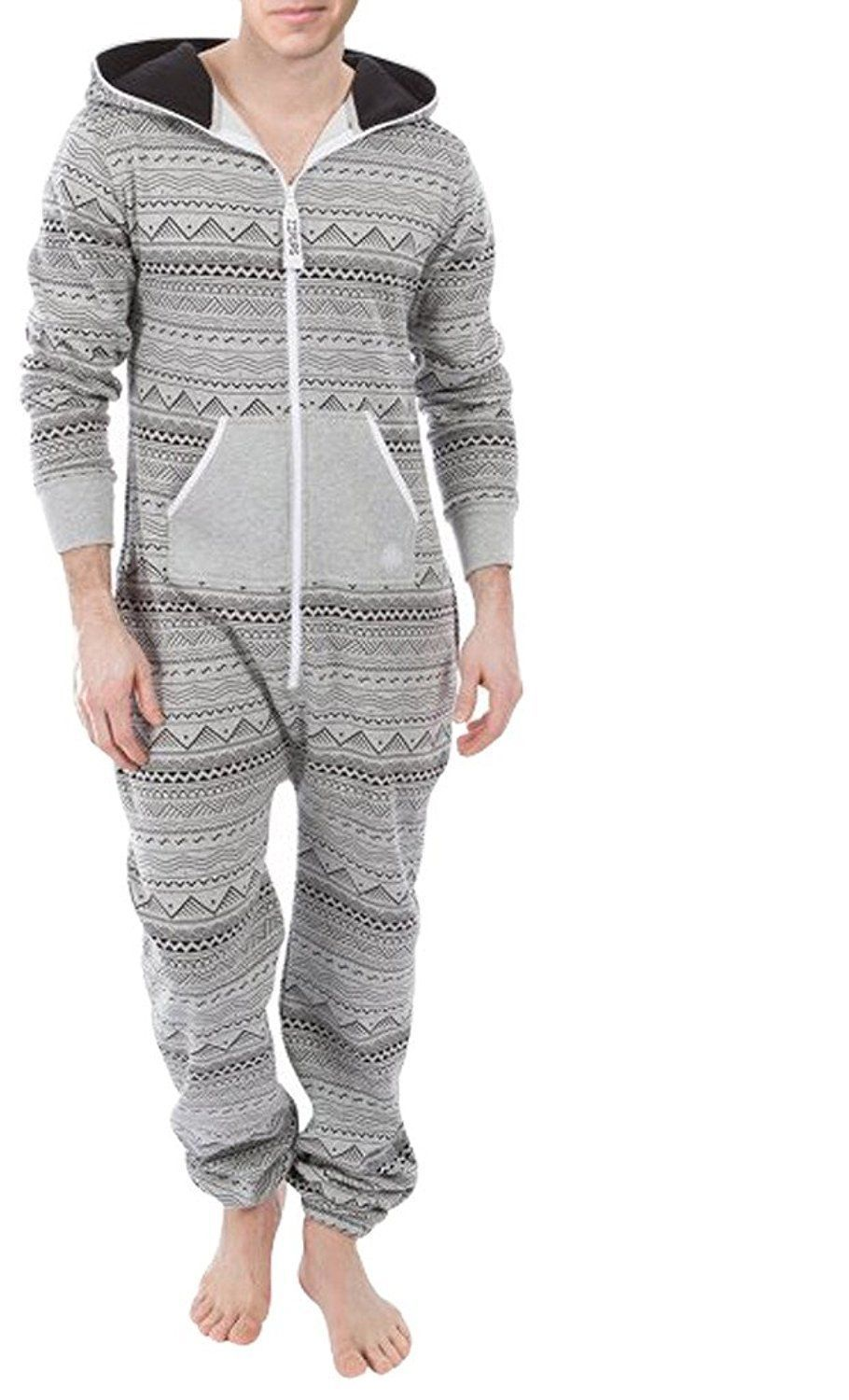 af180350d7b7 Mens Fashion Printed Jumpsuit Hooded One Piece Pajamas