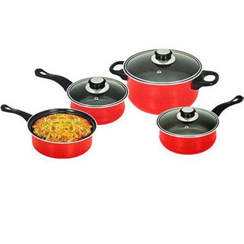 7PC Rouge Non Stick Cookware Set Steel Pan Pot Carbone Casserole Couvercle en Verre Cuisine