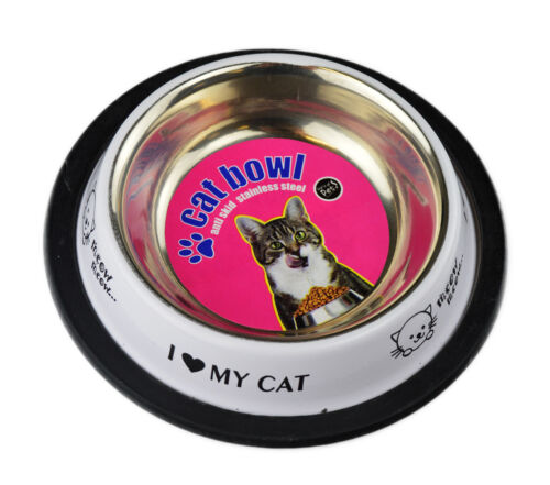 Felicia/'s Feeding Stainless Steel Cat Bowl with Plastic Rim 8oz by World Of Pets