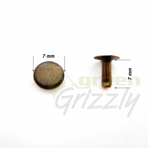 Single cap dot rivet 7 mm cap brass non rust leather craft studs repairs ANE