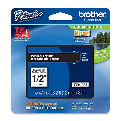 Nuovo Bianco su Nero Nastro Etichetta Kit per Brother Tz Tze 335 P-Touch Tze335