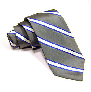New-EXPRESS-DESIGN-STUDIO-100-Silk-Silver-w-White-Blue-Striped-Classic-Necktie