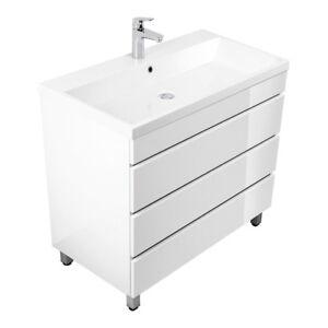 Details Zu Badezimmer Waschtisch Mit Unterschrank 90cm Waschbecken Hochglanz Weiß Badmöbel