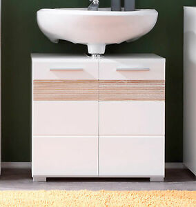 Das Bild Wird Geladen Badezimmer Waschbecken Unterschrank  Hochglanz Weiss Eiche Bad Schrank