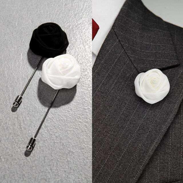 BytheR Men's RoseBud Black White Classic Flower boutonnière P0000JOU