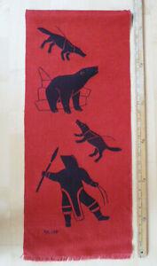 Vintage-Inuit-Eskimo-Art-Helen-Kalvak-Holman-Wall-Hanging-Hand-Silk-Screen-Hunt