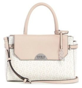 NEW GUESS Women's Blush Pink White Logo Print Satchel Handbag Purse Crossbody