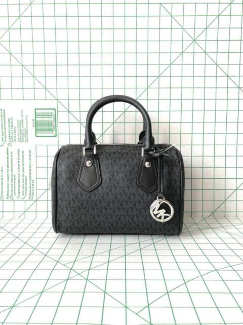 b9abbc1b111c9 ... norway nwt michael kors aria small satchel black signature mk crossbody  bag eaf44 a6c7e