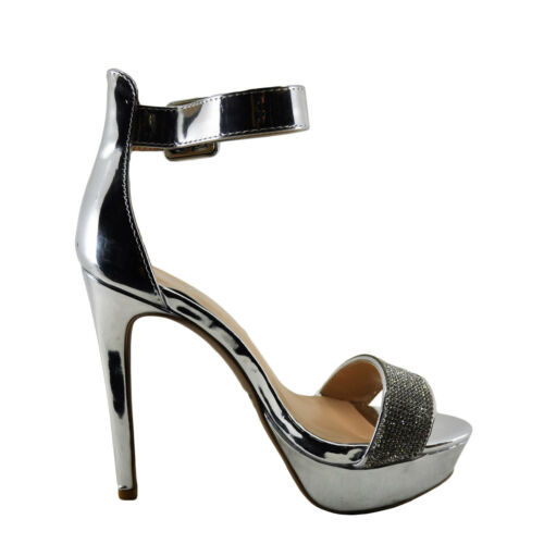 Details about  /Womens Shoes Qupid Avalon 226X Faux Diamond Embellished Banded Heel Silver *New*