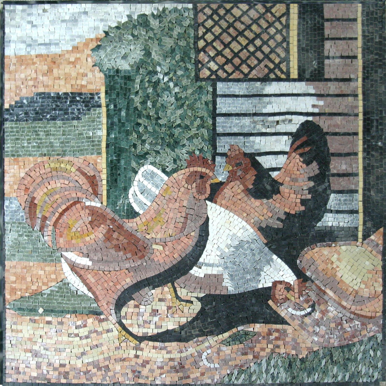 Hens Eggs Farm Bird Animal Feather Garden Marble Mosaic AN397