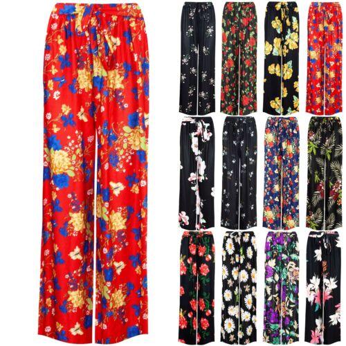 Débardeur Femme Palazzo Jambe Large Floral Imprimé Pantalon Ample Évasé Pantalon Legging
