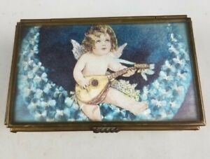 Vintage-Via-Vermont-Musical-Angel-Glass-Brass-Music-Box-Trinket-Box-GUC