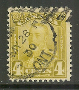 Canada #152, 1929 4c King George V - Scroll Issue, Cancelled / Used