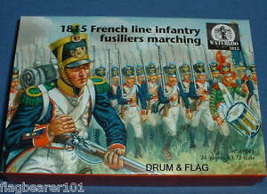 WATERLOO-1815-AP061-FRENCH-LINE-INFANTRY-FUSILIERS-MARCHING-1-72-SCALE-24-FIGS