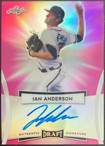 2017 Leaf Authentic Draft Signature Ian Anderson Pink Refractor Auto /15 Braves