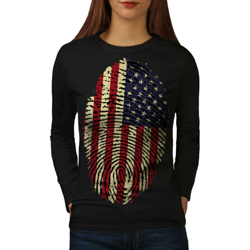 American Huellas Digitales Para Mujeres De Manga Larga T-shirt New | Wellcoda