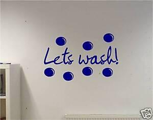 Détails sur Sticker Mural Vinyle Art avec Texte Permet de Lave Salle de Bain