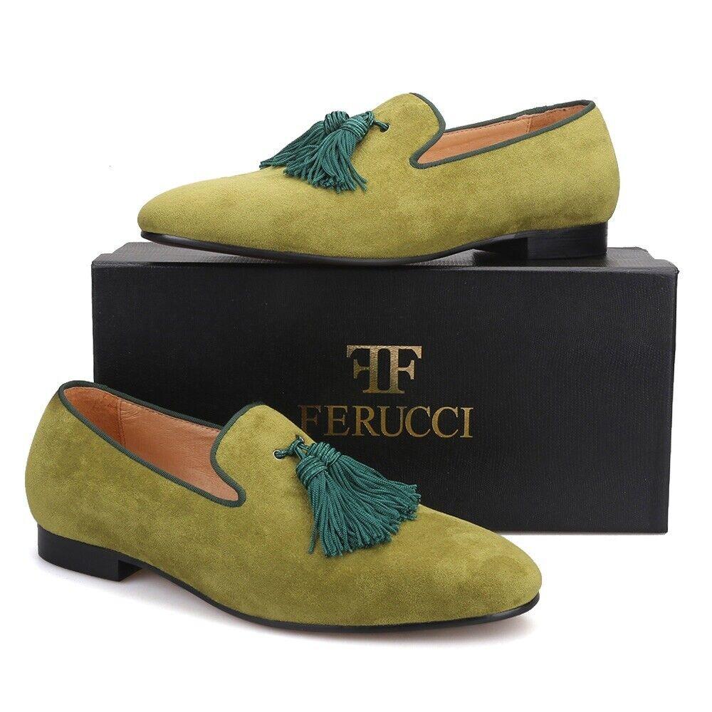 Zapatillas De Gamuza Para hombre verde Ferucci Mocasines Borla Plana con Big verde