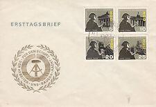 DDR FDC Ersttagsbrief 1966 Mi.1161-64  Sonderstempel Rennreifen Waltershausen