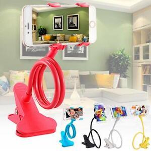 1x-Lazy-Mount-Double-V-Clip-Cell-Phone-Holder-Clamp-Flexible-360-Gooseneck-SZZ