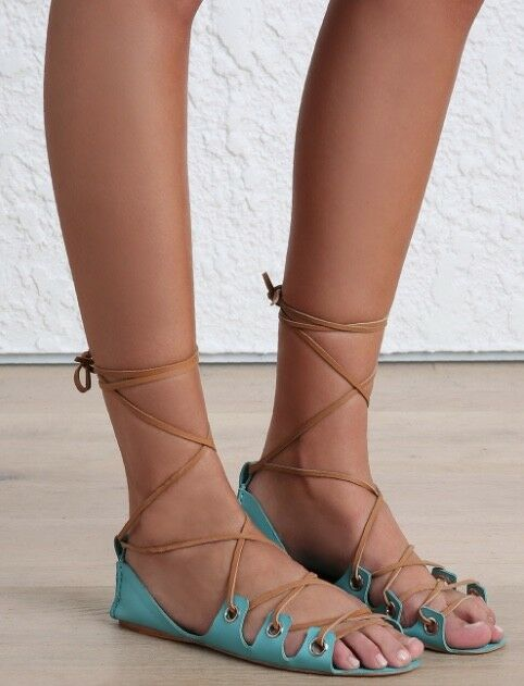Zimmermann Eyelet Gladiator Sandale Schuhes   Flats, Summer, Leder, Turquoise/Tan