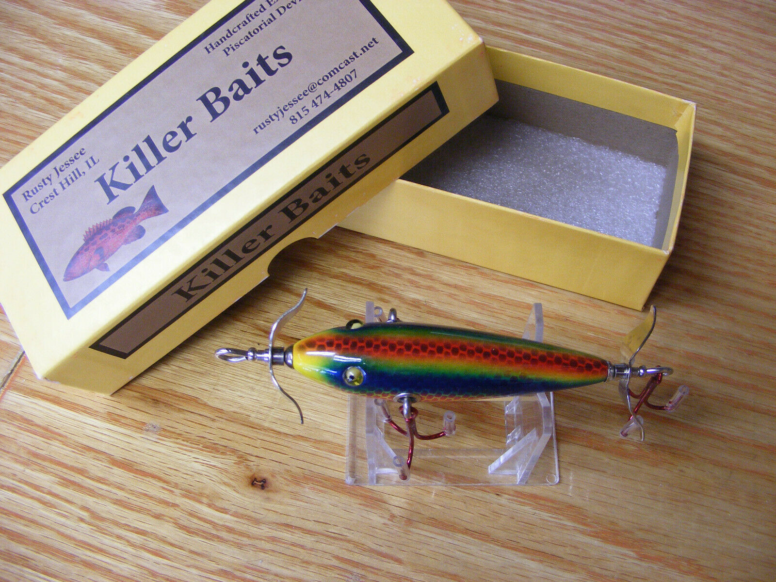 Killer Baits Rusty Jessee Heddon  Style Glasseye 3 Hook 100 in Monkey Puke color  a lot of concessions