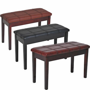 Two-Person-Lift-Top-Piano-Storage-Bench-Faux-Leather-Keyboard-Stool-Birchwood