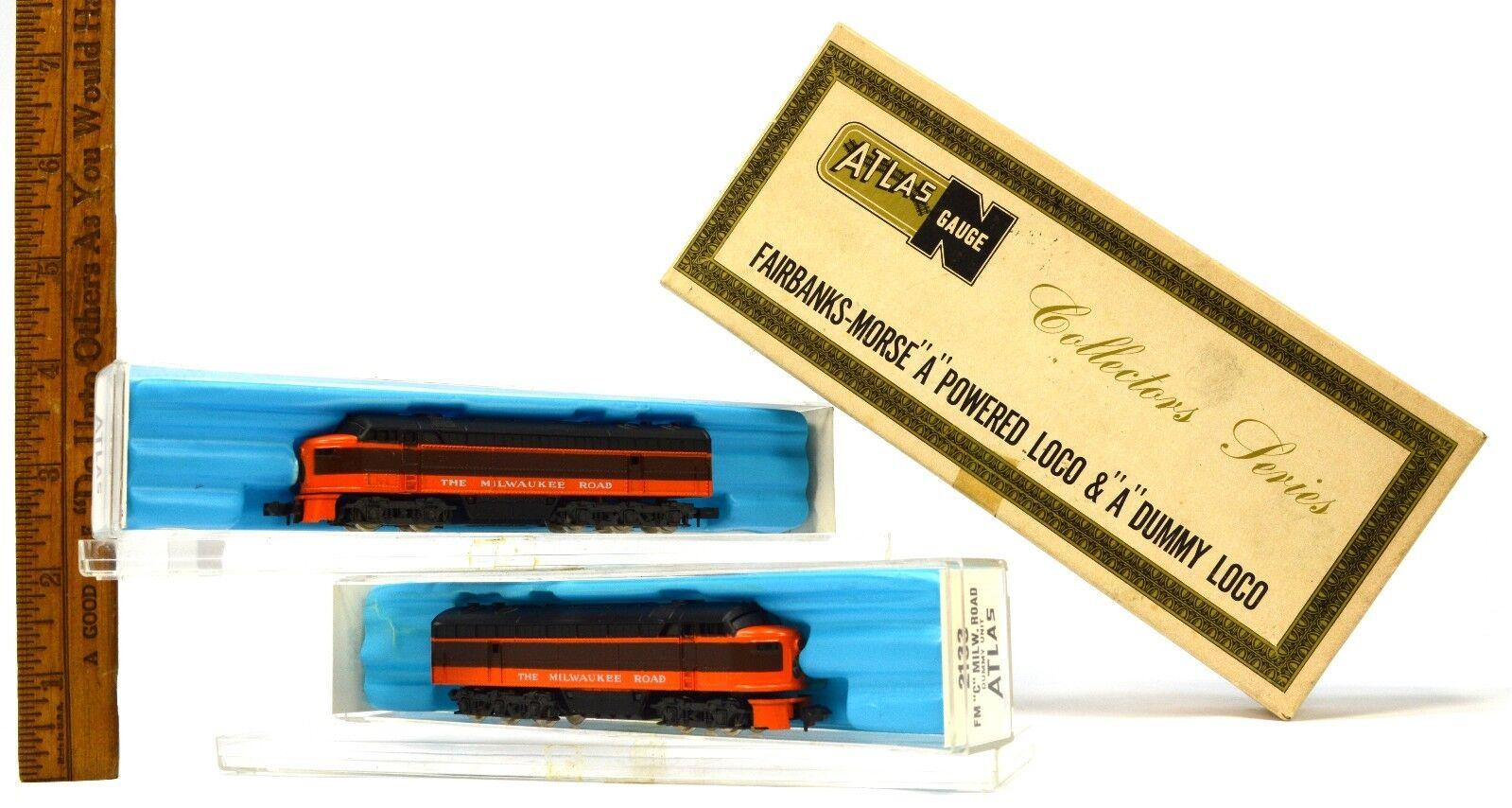 Vintage ATLAS N-TRAINS in Box    FAIRBANKS-MORSE Powered & Dummy LOCO & 2133 9c2294