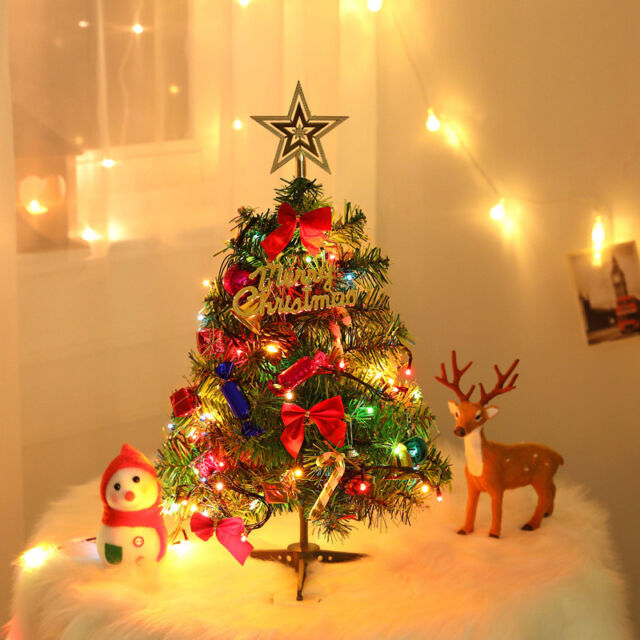 Tabletop Artificial Small Mini Christmas Tree With Led Lights Ornaments Decor