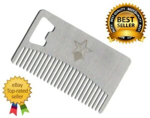 Stainless-Steel-Beard-Mustache-amp-Hair-Care-Comb-with-Bottle-Opener-Wallet-Size