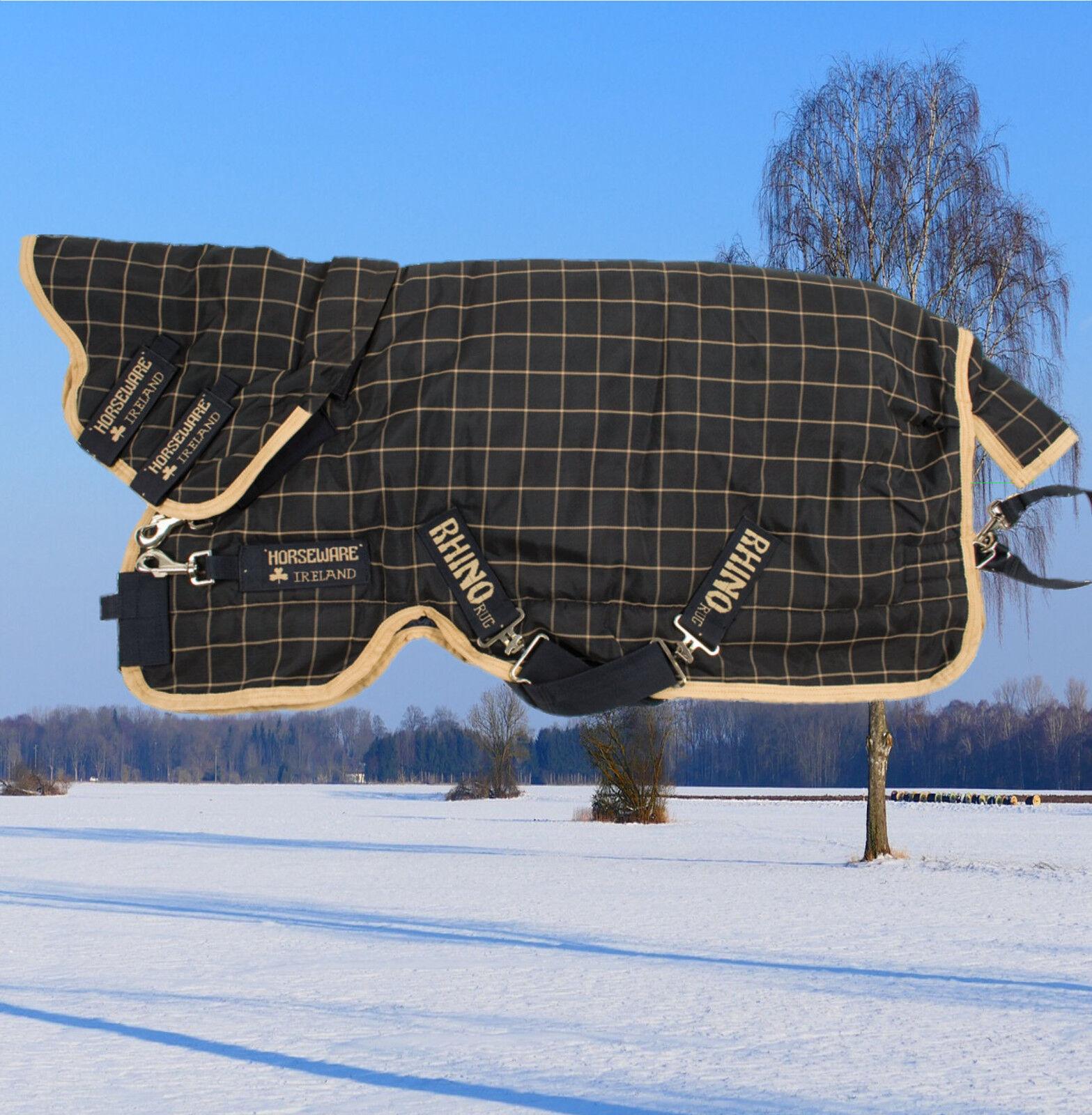 Rhino Plus Heavy 400g  , Horseware RHINO Winterdecke mit Halsteil, schwarz-karo