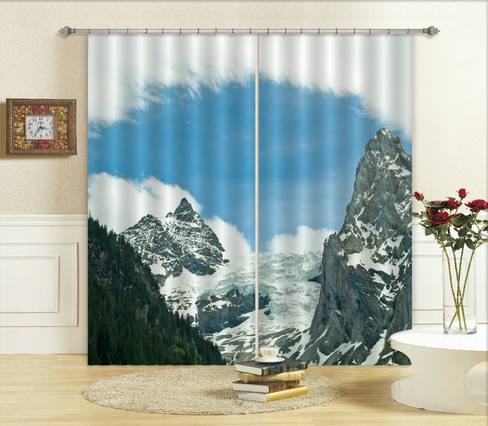 3d sedeben montaña 112 bloqueo foto cortina cortina de impresión sustancia cortinas de ventana