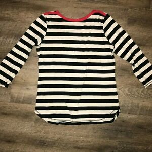 Thyme-And-Honey-Striped-Long-Sleeve-Womens-Medium-Black-and-White-Red-Trim