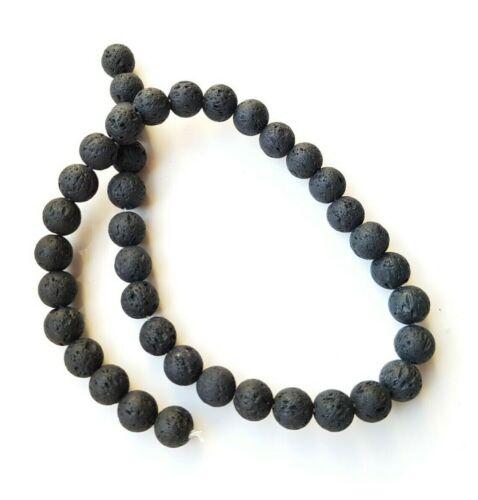 Black Volcanic Lava Stone Beads 6mm 8mm DIY Bracelet Jewellery Making Round