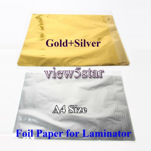 "100Pcs A4 8/""x12/"" Gold+Silver Transfer Foil Paper Laser Printer Hot Laminator"