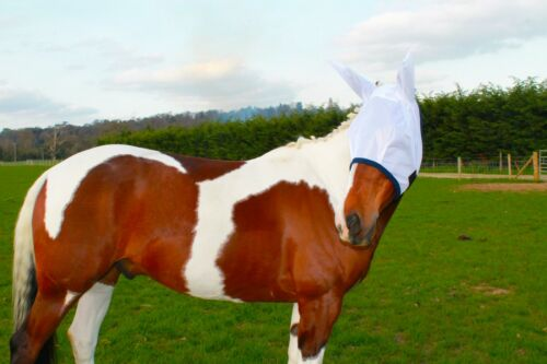 FREE P//P NEW HORSE//COB MESH FLY MASK WITH EARS WHITE