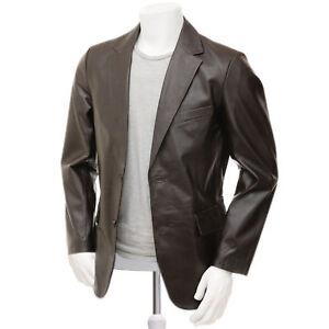 Men's leather Blazer in Brown, 100% guaranteed sheep leather