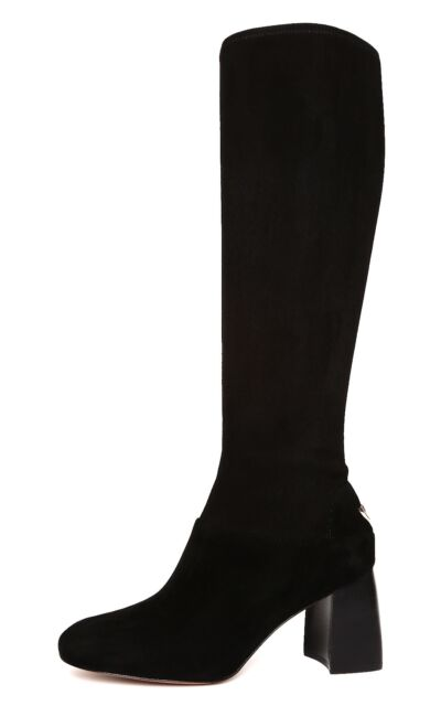 9f5701c13c6d Tory Burch Sidney 70mm BOOTS Black Stretch Suede Block Heel Size 11 ...