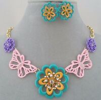 Butterfly Flower Necklace Set Multi Color Crystal Fashion Jewelry