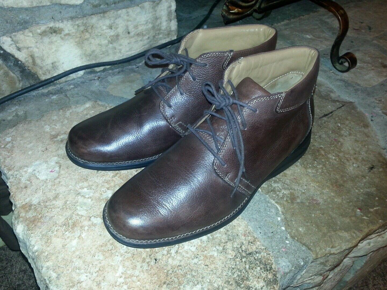Men JOHNSTON & MURPHY Sheepskin Brown Distress Leather Oxford Boots Size 11