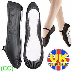 Black-Leather-Ballet-Dance-Shoes-full-suede-sole-elastics-irish-jig-pumps-CC