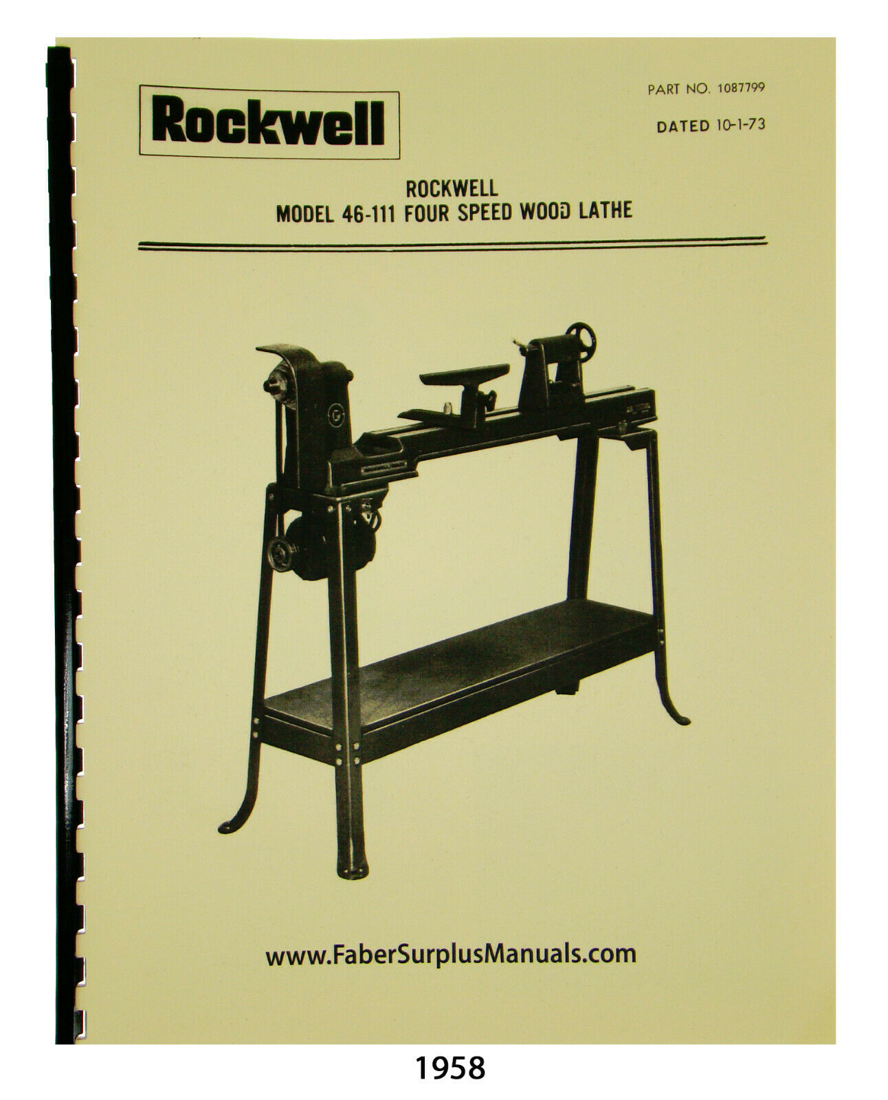 Rockwell 4 Speed 46-111 & Others Wood Lathe Instructions and Parts Manual #1958